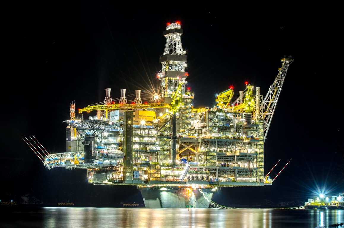 Hebron platform lit up at night