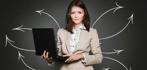 Woman using her computer for networking