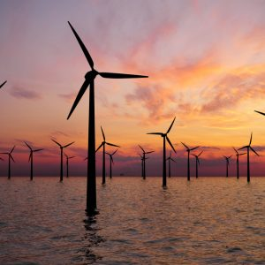 Offshore-wind-farm-at-sunset